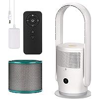 U ULTTY Ventilateur tour, purificateur d'air, avec filtre à air, télécommande, sans roue, silencieux, oscillation à 90…