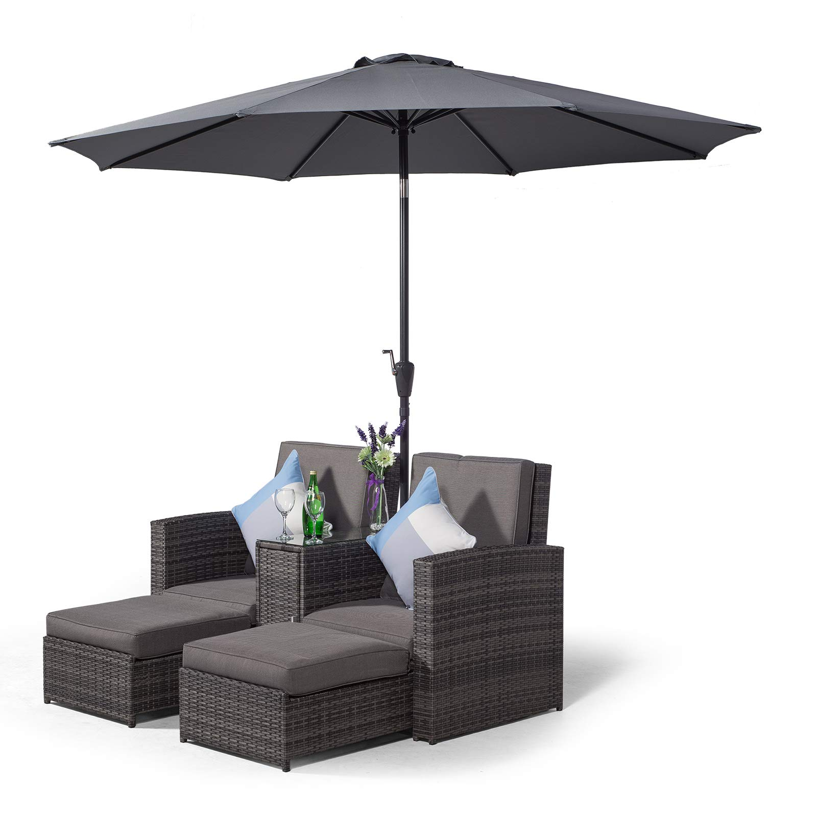 Awesome Giardino Nevada Double Reclining Grey Rattan Sun Loungers Caraccident5 Cool Chair Designs And Ideas Caraccident5Info