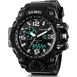 SKMEI Analog Digital Black Dial Men's Watch   AD1155  Black