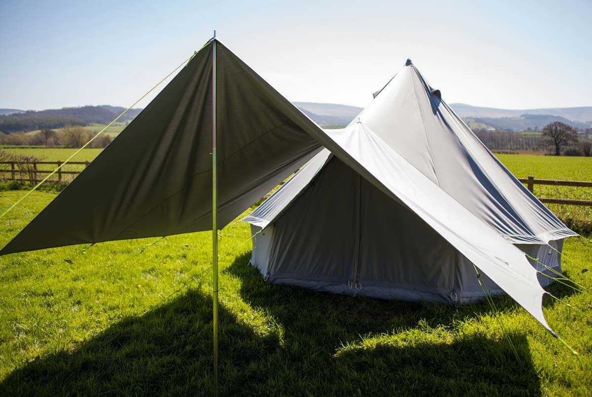 360 x 240cm AWNING 100% Cotton Canvas Suitable for 3m 4m 5m 6m Bell Tent Available in Sand or Grey 4