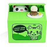Peradix Tirelire Chat Boîte Animal Voler la pièce Tirelire Boîte d'économie d'argent avec Voix pour Enfant and Adulte (Chat Vert,Nouveau IC)