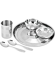 Ratna Home Products Stainless Steel Thali Set (Silver) 6 Pieces