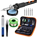 Preciva 11 in 1 Soldering Iron Set, 60W Soldering Iron Temperature Adjustable 220~480°C, 5 Soldering Tips, Solder Bar…