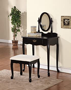 Traditional Queen Anne Dressing Table Set With Mirror U0026 Stool   Black Or  Ivory (Black