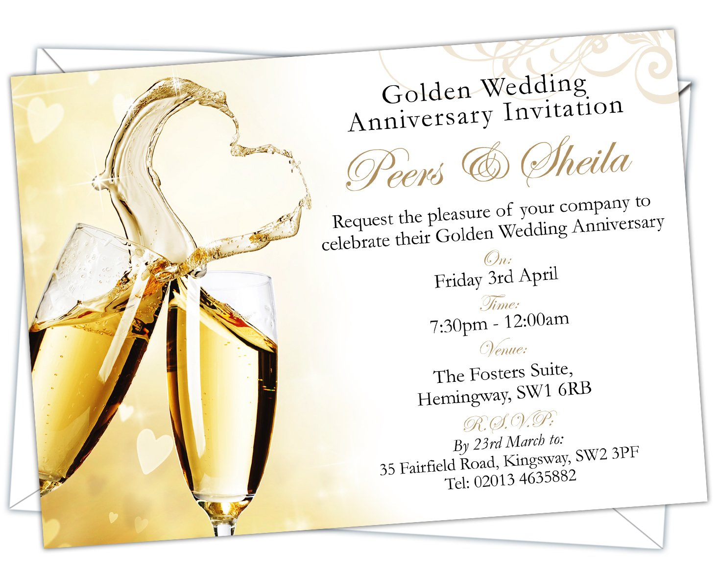 Personalised Golden Wedding 50th Anniversary Invitations (Design ...