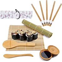 Viesap Kit à Sushi, 12 pièces Tapis de Sushi - Bambou 100% Naturel,Bambou Sushi Maker Kit-5 Paires de Baguettes avec Sac…