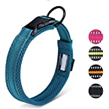 HAPPY HACHI Adjustable Padded Dog Collar Soft Nylon Pet Collar Reflective Safety for Small Medium Large Dogs(XS,Blue)