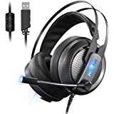 Mpow Virtual 7.1 Surround-Sound Gaming Headset Over Ear Headset mit LED-Leucht 50mm Treiber PS4, PC Gaming Kopfhörer mit Mikrofon und Lautstärkeregler