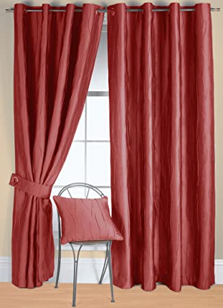 Curtains Ideas 54 inch curtains : Rectella 44 x 54-inch Jazz Eyelet Curtains, Red: Amazon.co.uk ...