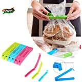 VR 18 Pcs - 3 Different Size Plastic Food Snack Bag Pouch Clip Sealer Large, Medium, Small Plastic Snack Seal Sealing Bag Cli