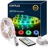 MYPLUS - Tira LED RGB de 5 m con mando a distancia por infrarrojos y fuente de alimentación de 12 V, cambio de color SMD 5050