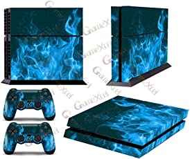 GameXcel ® Ps4 Skins for Sony Playstation 4 Console Plus Two(2) Decals For: Ps4 Dualshock Controller - Blue Fire Skull