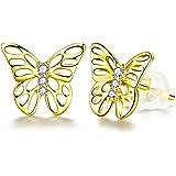 ZENI Pendientes de Mariposa Para Mujer, Chapado en Oro de 14 K, Plata de Ley 925, Pendientes Hipoalergénicos, Regalo de Joyer