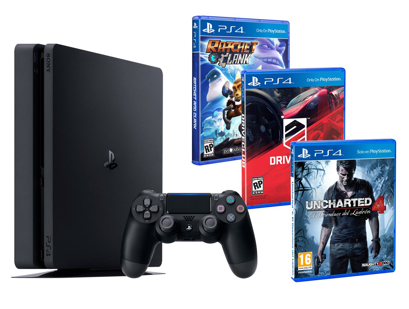 PS4 Slim 4 1Tb + 3 Giochi - Uncharted 4 + Ratchet & Clank + Driveclub
