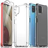 Ferilinso Cover per Samsung Galaxy A12/A12 Nacho/M12 + 2 Pezzi Pellicola Protettiva Vetro Temperato [Transparente TPU Custodi