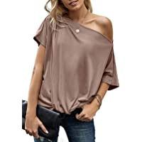 Dokotoo Donna Tee Maglietta con Spalle Scoperte Estiva T-Shirt a Maniche Corte Casual Tinta Unita Asimmetrica Tops…