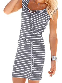 Sporzin Damen Kleid Dress Sommerkleid Elegant Boho Strandkleid /Ärmellos Einstellbar Cocktailkleid Minikleid Abendkleid Streifen L/ässige Bedrucktes