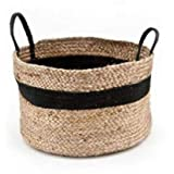 Printshoppie Handcrafted Storage Basket 12 inches X 12 inches Beige Colur with Black Cotton Rope Organizer Baby Laundry…