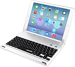 Arteck Ultra-Thin Apple iPad Air Wireless Bluetooth Keyboard Folio Case Cover with Built-In Stand Groove for Apple iPad Air with 130 Degree Swivel Rotating - Silver