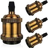 DiCUNO Vintage E27 douille de lampe, Edison retro suspension lampe, Solide céramique adaptateur, 4 Pièces laiton vintage sock