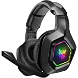 DIZA100 Gaming headset for PS4, PS5, Surround Stereo 3.5mm Gaming Headphones with Mic and RGB Rainbow Light for Xbox One Nint