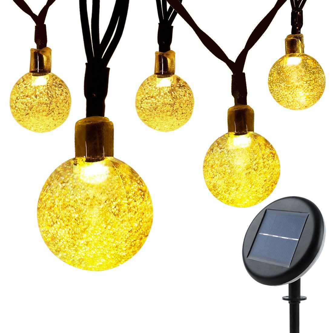 Solar Globe String Lights Outdoor : Solar String Lights Garden, Lunalife Outdoor Waterproof Globe Fairy Lights Upgra