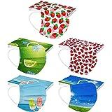 TENGGONG 50 Pezzi Adulto Tessuto Viso Cotone usa e getta Visiera Bocca Faccia Comfort Traspirante- 3 Strati - traspirante e A
