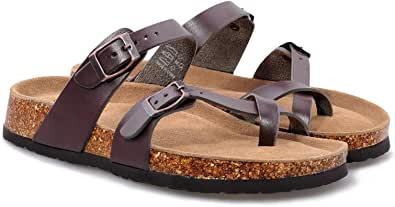 MIXIN Womens Comfy Cork Sandals Leather Strap Slides for Ladies with Adjustable Buckle Mules Size 4-9 UK