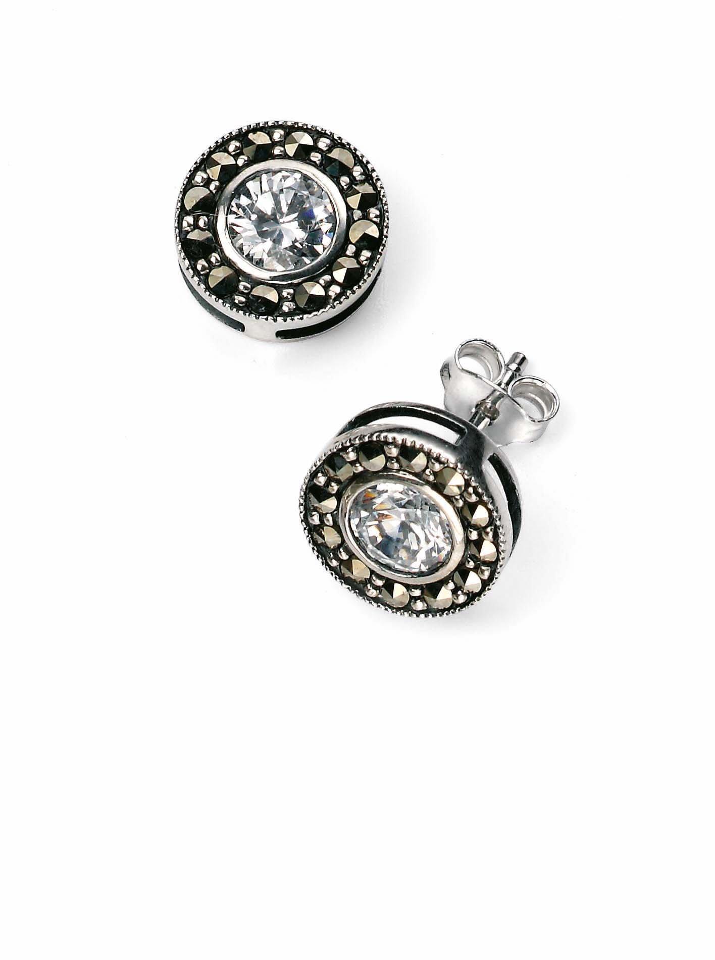 Elements Silver - Orecchini pendenti da donna con marcasite e zirconia, argento sterling 925, cod.