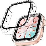 TOCOL 2 Pezzi Brillantini Cover per Apple Watch Series 6 5 4 SE 40mm con Vetro Temperato, HD Clear Pellicola Protettiva Custo