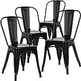 BenyLed Lot de 4 Chaises de Salle à Manger Empilables en Métal Style Industriel Vintage, Convient pour Une Utilisation Intéri