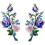 Parche termoadhesivo para la ropa, diseño de Retro Flores Ramo Rosa, Rosado Azul