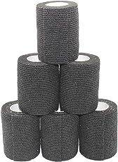 Fuluning, 6 Rollen, selbsthaftende Bandage, Bandagen, Sportband, Knöchelband, blaues Klebeband, 7,5 cm kohäsive Bandagen, schwarze Bandagen
