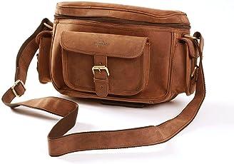 Leaderachi Hunter Leather Crossbody DSLR Camera Messenger Bag ( Muskat)