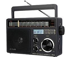 Retekess TR618 Radio Portable FM AM SW Radio pour Personnes Âgées, Radio Analogique à Ondes Courtes,Prise en Charge USB, SD/T