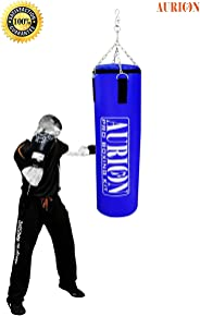 Aurion 1515 Synthetic Leather Boxing Bag with Chain, 48-inch (Red/Blue)