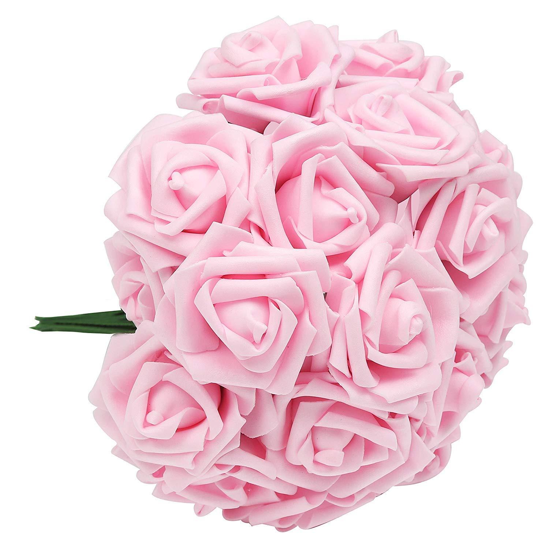 Belle Vous Flores Artificial 50 Pcs Espuma Rosas Artificiales De Aspecto Real Con Vástago Ajustable Bricolaje Ramos Boda Decoración Para El