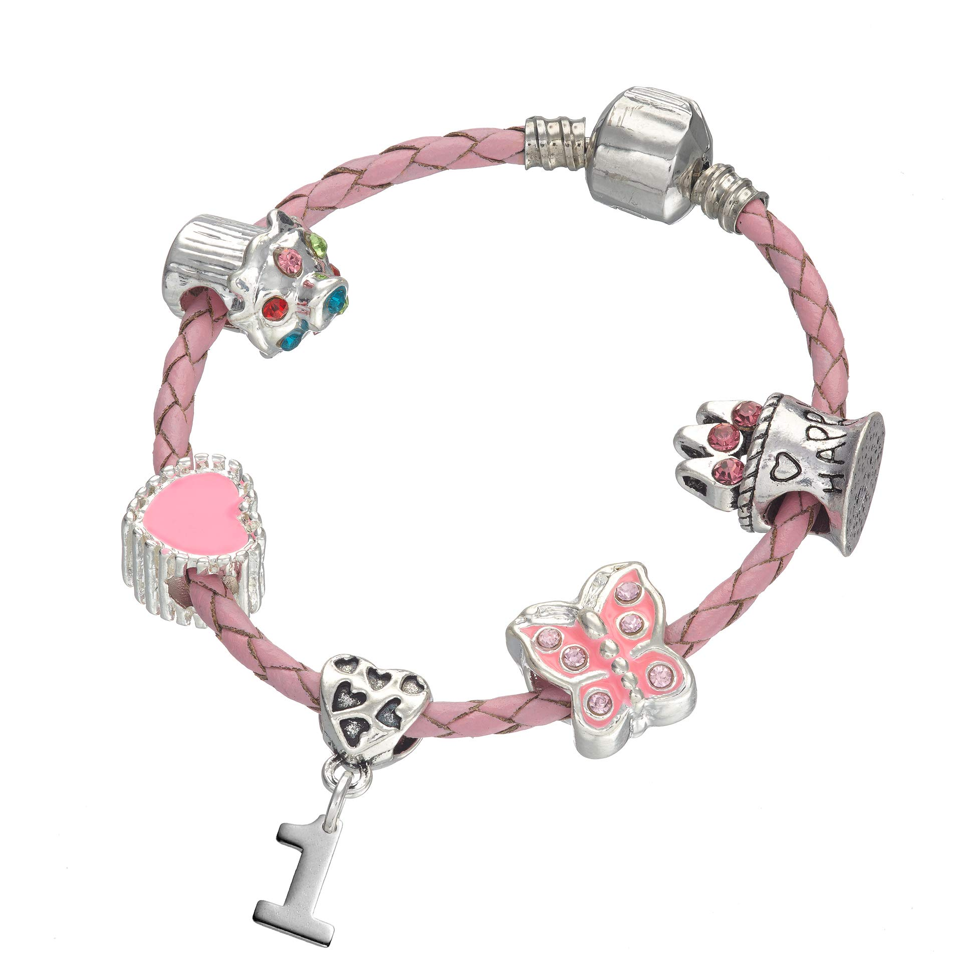 Children's Pink Leather Happy 1st Birthday Charm Bracelet with Gift Box – Girl's & Children's Birthday Gift Jewellery