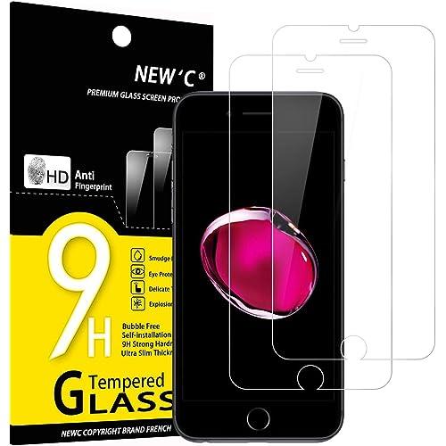 """NEW'C 2 Pezzi, Vetro Temperato per iPhone 7 e iPhone 8 (4.7""""), Pellicola Prottetiva Anti Graffio, Anti-Impronte, Senza Bolle, Durezza 9H, 0,33mm Ultra Trasparente, Ultra Resistente"""