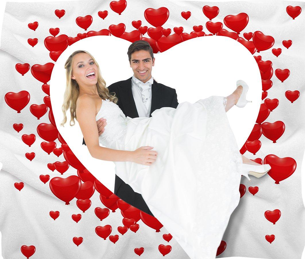 von Rafenstein Hochzeitsherz zum Ausschneiden für das Brautpaar inkl. 2 Nagelscheren. Bedrucktes Bettlaken das…