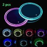 LED-bekerhouderverlichting, 2 stuks LED auto-onderzetters met 7 kleuren lichtgevend licht Cup Pad, USB-oplaadbekermat voor on