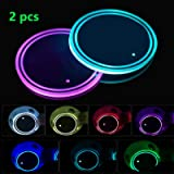 LED Cup Holder Lights, 2pcs LED Car Coasterss with 7 Colors Luminescent Light Cup Pad, USB Charging Cup Mat for Drink…