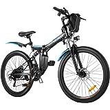 ANCHEER 26 tum hopfällbara elektriska cyklar för vuxna, 66 cm hopfällbar elektrisk pendlarcykel med 250 W motor 36 V 8 Ah lit