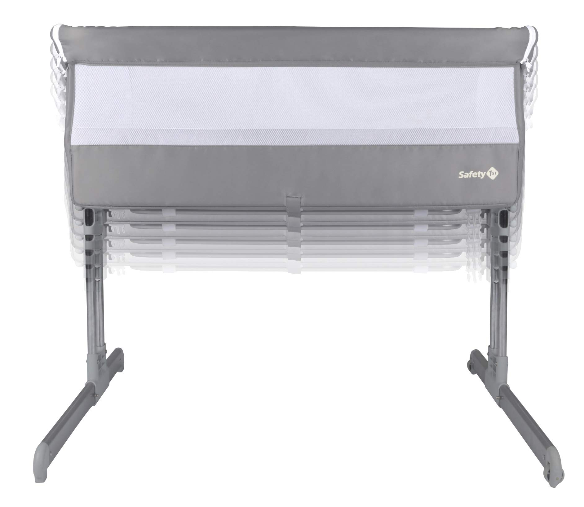 Safety 1st Calidoo Cot Cot Cot Cot Cot Bed Cot Cot Cot Cot with Recliner and 7 Heights Travel Cot for Newborn - Warm Grey Safety 1st Crib side bed for newborns with opening edge to be attached to the parents' bed and sleep next to the child in safety Height adjustable to 7 levels and can be reclined to an anti-backflow position Adjustable feet to be attached to beds with storage box 2