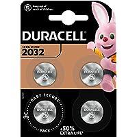 Pile bouton lithium Duracell spéciale 2032 3 V, pack de 4 (DL2032/CR2032), conçue pour une utilisation dans les porte…