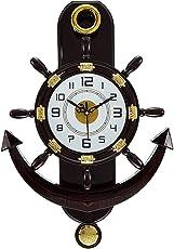 Kolors Altra Plastic Pendulum Wall Clock (45 cm x 30 cm x 5 cm, Brown)