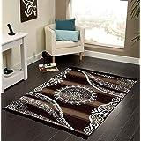 Vram Floral Carpet (Camel, Velvet, 5 X 7)