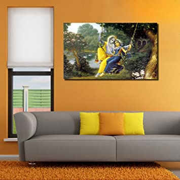 Superior 999Store Unframed Large Printed Radha Krishna Swinging Canvas Painting For Living  Room (150x 91Cms): Amazon.in: Home U0026 Kitchen Part 20