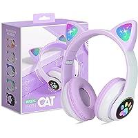 Kinderkopfhörer Bluetooth, Mädchen Katzenohr Kopfhörer Over-Ear mit LED-licht Faltbare Stereo Kopfhörer Kabellose…