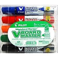 Pilot - V-Board Master - Marqueur - Pochette de 5 - Noir/Bleu/Rouge/Vert/Orange - Begreen - Pointe conique moyenne